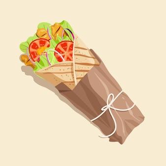 Gedetailleerde illustratie van voedzame shoarma
