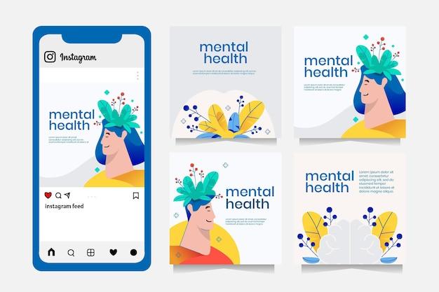 Gedetailleerde instagrampost voor geestelijke gezondheid