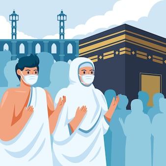 Gedetailleerde islamitische hadj bedevaart illustratie