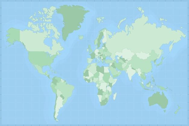 Gedetailleerde kaart van de wereld in groene tinten. vector wereldkaart.