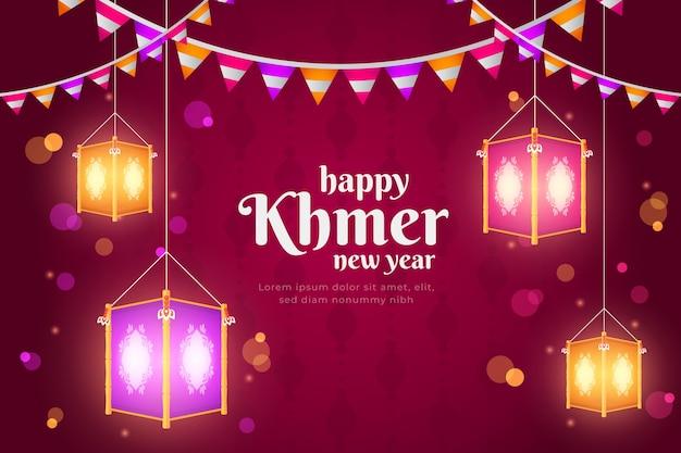 Gedetailleerde khmer-nieuwe jaarillustratie