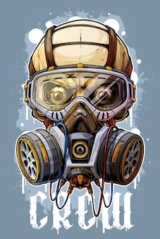 Gedetailleerde kleurrijke menselijke schedel met gasmasker