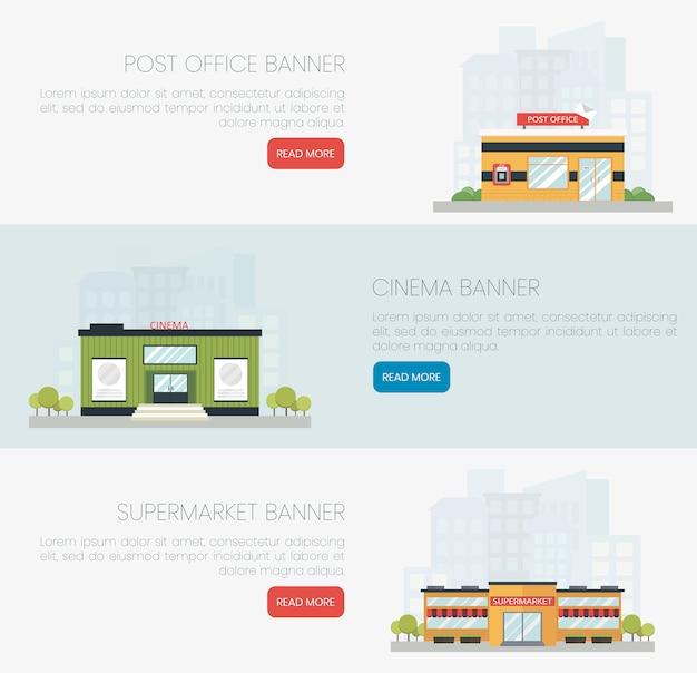 Gedetailleerde kleurrijke platte gebouwen van postkantoor, bioscoop en supermarkt.