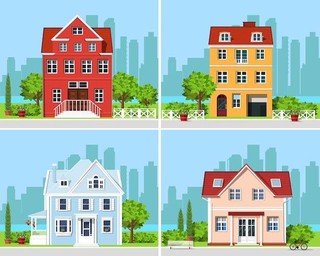 Gedetailleerde kleurrijke reeks moderne huizen met bomen en stadsachtergrond.