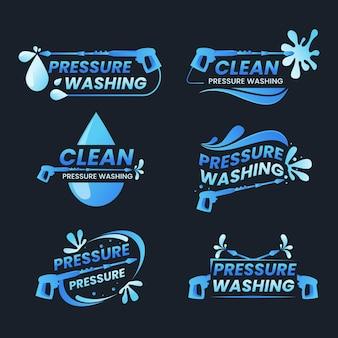 Gedetailleerde logo's voor hogedrukreiniging