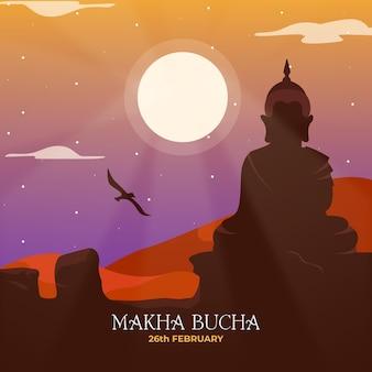 Gedetailleerde makha bucha dag illustratie