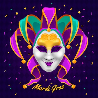 Gedetailleerde mardi gras-illustratie met masker