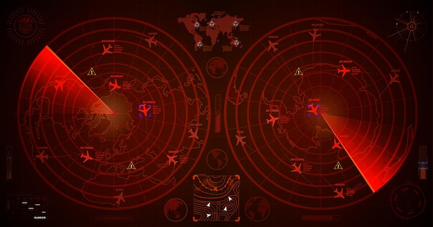 Gedetailleerde militaire radar met twee rode displays met vliegtuigsporen en doelborden