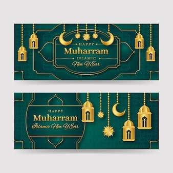 Gedetailleerde muharram banners set