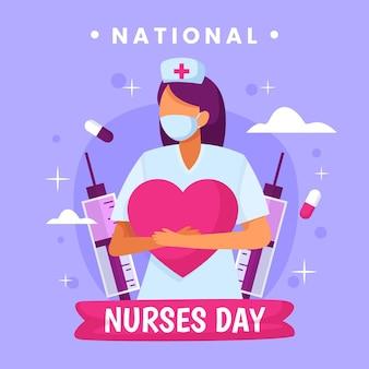 Gedetailleerde nationale verpleegstersdag illustratie