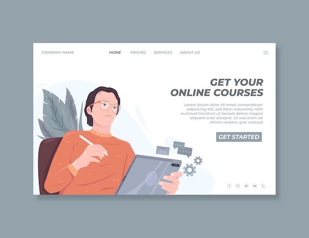 Gedetailleerde online bestemmingspagina-sjabloon