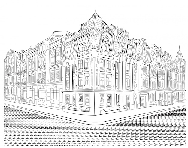 Gedetailleerde oude gebouwen op de straathoek vectortekening