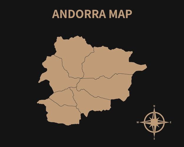 Gedetailleerde oude vintage kaart van andorra met kompas en regiogrens geïsoleerd op donkere achtergrond