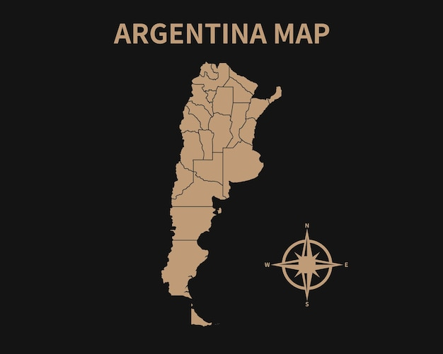 Gedetailleerde oude vintage kaart van argentinië met kompas en regiogrens geïsoleerd op donkere achtergrond