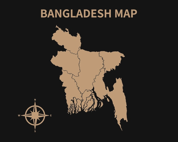 Gedetailleerde oude vintage kaart van bangladesh met kompas en regiogrens geïsoleerd op donkere achtergrond