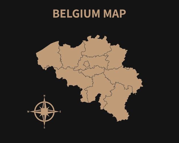 Gedetailleerde oude vintage kaart van belgië met kompas en regiogrens geïsoleerd op donkere achtergrond
