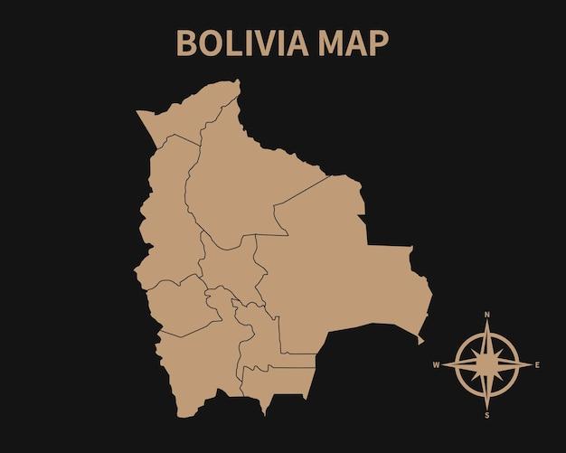 Gedetailleerde oude vintage kaart van bolivia met kompas en regiogrens geïsoleerd op donkere achtergrond