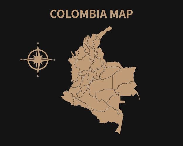 Gedetailleerde oude vintage kaart van colombia met kompas en regiogrens geïsoleerd op donkere achtergrond