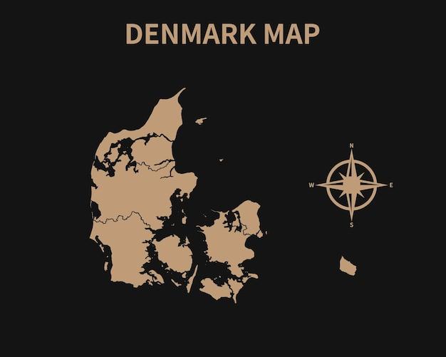 Gedetailleerde oude vintage kaart van denemarken met kompas en regiogrens geïsoleerd op donkere achtergrond