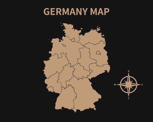 Gedetailleerde oude vintage kaart van duitsland met kompas en regiogrens geïsoleerd op donkere achtergrond