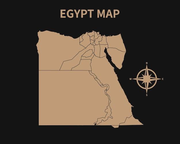 Gedetailleerde oude vintage kaart van egypte met kompas en regiogrens geïsoleerd op donkere achtergrond