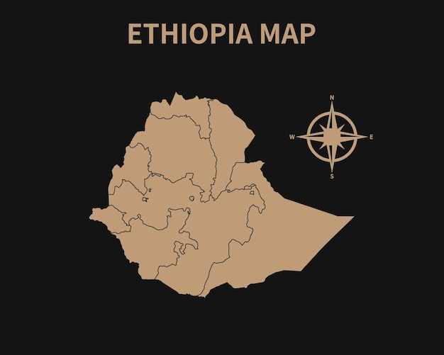 Gedetailleerde oude vintage kaart van ethiopië met kompas en regiogrens geïsoleerd op donkere achtergrond