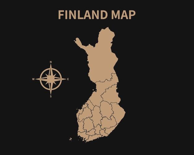 Gedetailleerde oude vintage kaart van finland met kompas en regiogrens geïsoleerd op donkere achtergrond