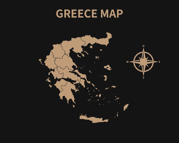 Gedetailleerde oude vintage kaart van griekenland met kompas en regiogrens geïsoleerd op donkere achtergrond
