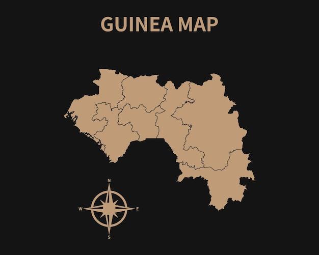 Gedetailleerde oude vintage kaart van guinee met kompas en regiogrens geïsoleerd op donkere achtergrond