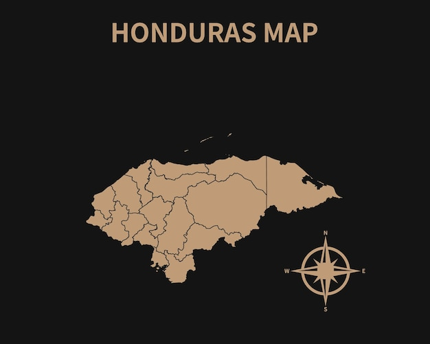 Gedetailleerde oude vintage kaart van honduras met kompas en regiogrens geïsoleerd op donkere achtergrond