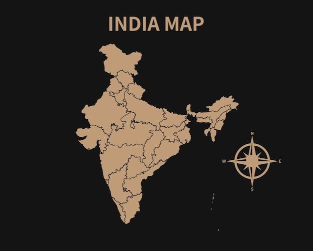 Gedetailleerde oude vintage kaart van india met kompas en regiogrens geïsoleerd op donkere achtergrond