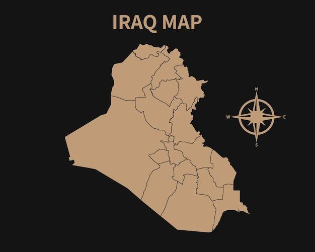 Gedetailleerde oude vintage kaart van irak met kompas en regiogrens geïsoleerd op donkere achtergrond