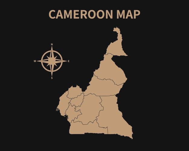 Gedetailleerde oude vintage kaart van kameroen met kompas en regiogrens geïsoleerd op donkere achtergrond