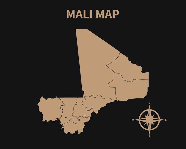 Gedetailleerde oude vintage kaart van mali met kompas en regiogrens geïsoleerd op donkere achtergrond