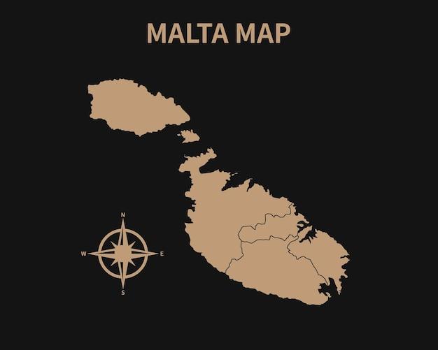 Gedetailleerde oude vintage kaart van malta met kompas en regiogrens geïsoleerd op donkere achtergrond