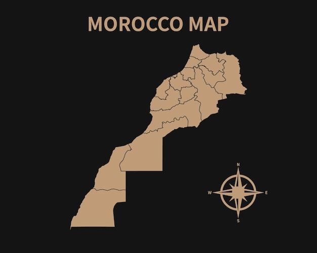 Gedetailleerde oude vintage kaart van marokko met kompas en regiogrens geïsoleerd op donkere achtergrond