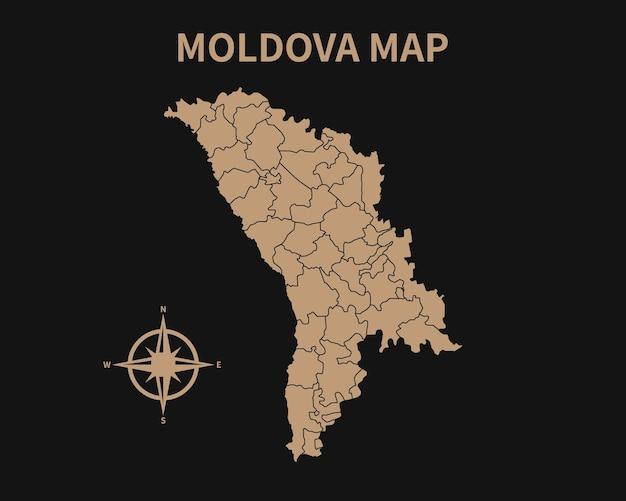 Gedetailleerde oude vintage kaart van moldavië met kompas en regiogrens geïsoleerd op donkere achtergrond