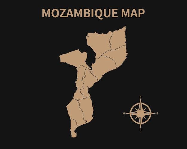 Gedetailleerde oude vintage kaart van mozambique met kompas en regiogrens geïsoleerd op donkere achtergrond