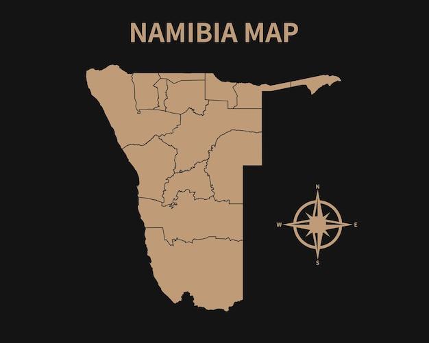 Gedetailleerde oude vintage kaart van namibië met kompas en regiogrens geïsoleerd op donkere achtergrond