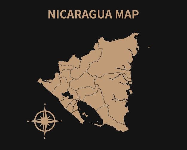 Gedetailleerde oude vintage kaart van nicaragua met kompas en regiogrens geïsoleerd op donkere achtergrond