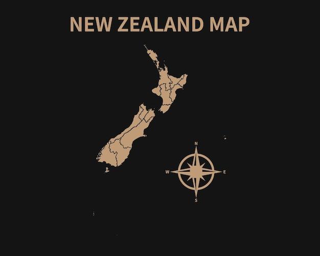 Gedetailleerde oude vintage kaart van nieuw-zeeland met kompas en regiogrens geïsoleerd op donkere achtergrond