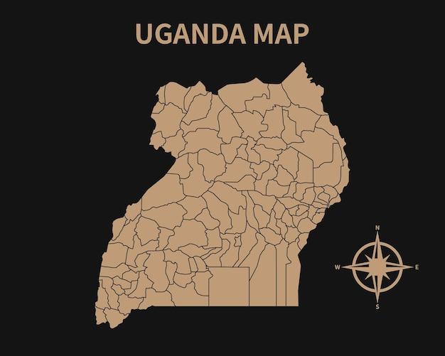 Gedetailleerde oude vintage kaart van oeganda met kompas en regiogrens geïsoleerd op donkere achtergrond