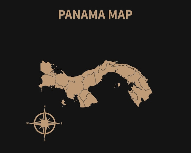 Gedetailleerde oude vintage kaart van panama met kompas en regiogrens geïsoleerd op donkere achtergrond