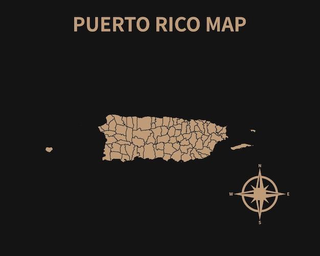 Gedetailleerde oude vintage kaart van puerto rico met kompas en regiogrens geïsoleerd op donkere achtergrond