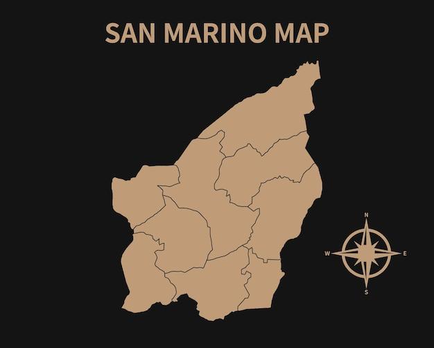 Gedetailleerde oude vintage kaart van san marino met kompas en regiogrens geïsoleerd op donkere achtergrond