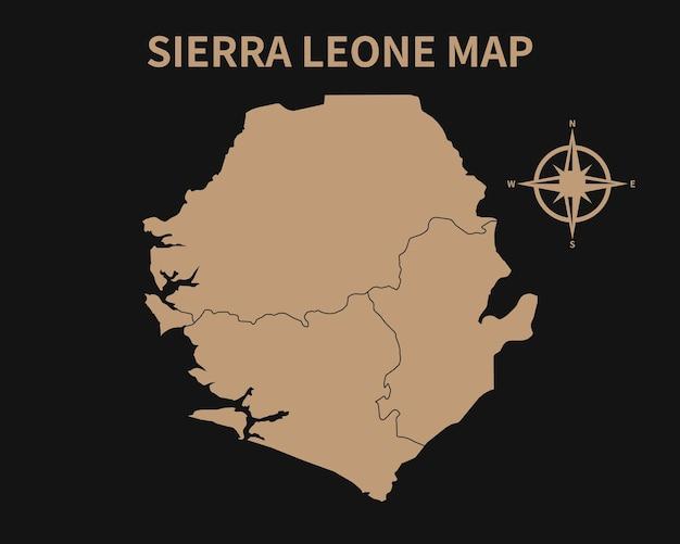 Gedetailleerde oude vintage kaart van sierra leone met kompas en regiogrens geïsoleerd op donkere achtergrond