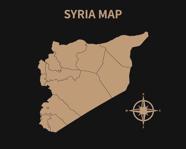 Gedetailleerde oude vintage kaart van syrië met kompas en regiogrens geïsoleerd op donkere achtergrond