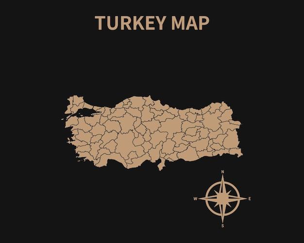 Gedetailleerde oude vintage kaart van turkije met kompas en regiogrens geïsoleerd op donkere achtergrond
