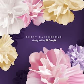 Gedetailleerde peony bloemen achtergrondontwerp