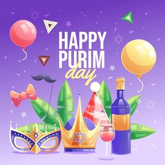 Gedetailleerde platte gelukkige purim-dag